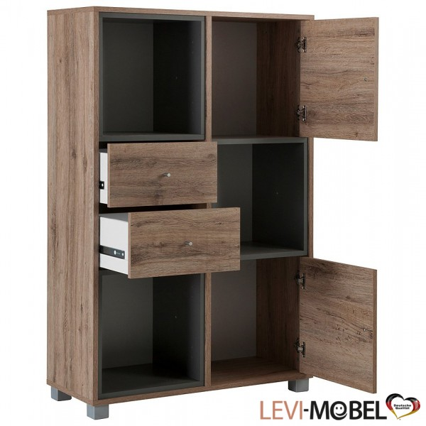 b roschrank b rom bel b ro schrank wildeiche basaltgrau. Black Bedroom Furniture Sets. Home Design Ideas