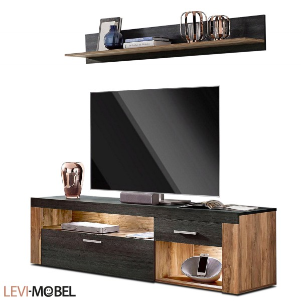 tv lowboard wohnwand wohnzimmer satin nussbaum darkwood matt neu 139481 ebay. Black Bedroom Furniture Sets. Home Design Ideas