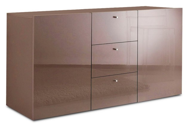 sideboard wohnzimmer flur cappuccino hochglanz neu 422775 ebay. Black Bedroom Furniture Sets. Home Design Ideas