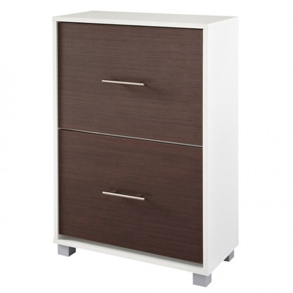 schuhschrank garderobe flur wei schoko matt 2 klappen neu 881428 ebay. Black Bedroom Furniture Sets. Home Design Ideas