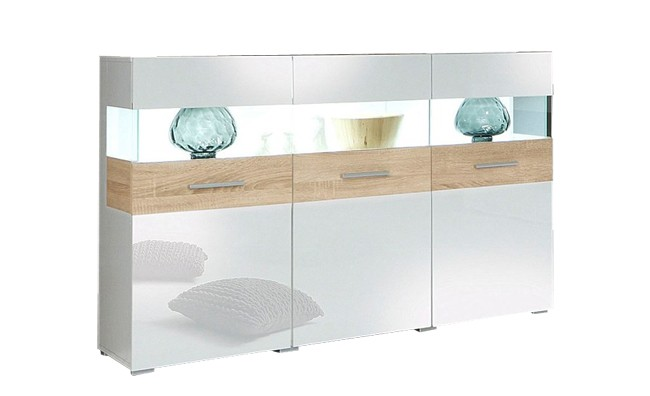 sideboard kommode vitrine wohnzimmer wei hochglanz eiche wei antik neu 757542 ebay. Black Bedroom Furniture Sets. Home Design Ideas