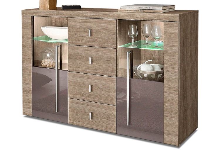 sideboard wohnzimmer kommode eiche s gerau braun hochglanz neu 620881 ebay. Black Bedroom Furniture Sets. Home Design Ideas